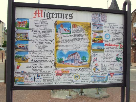 Migennes, un panneau signalétique.