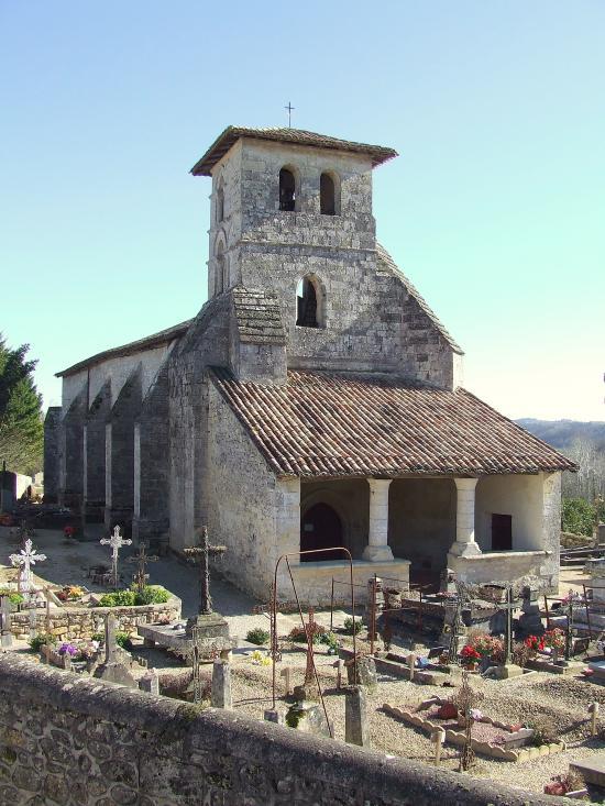 Saint-Aubin-de-Branne, l'église Saint-Aubin.