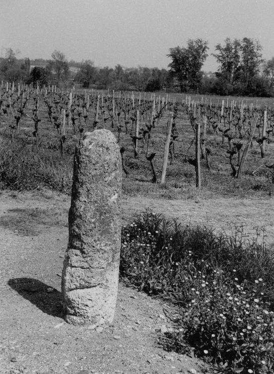 Vayres, une borne romaine à Saint-Pardon.